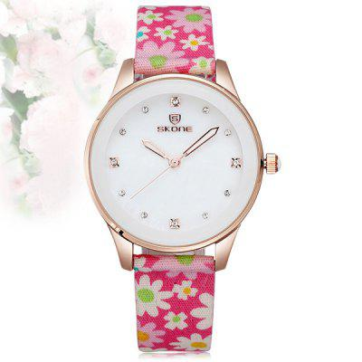 Skone 5057 Women Diamond Japan Quartz Watch with Smart Fresh Flower Cloth Band