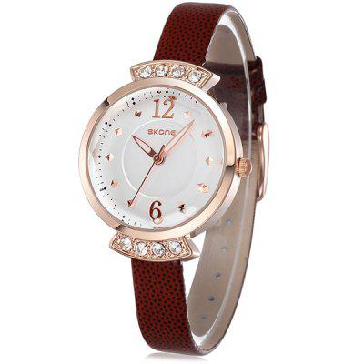 Skone 5060 Diamond Quartz Watch with Luminous Pointers PU Strap for Women