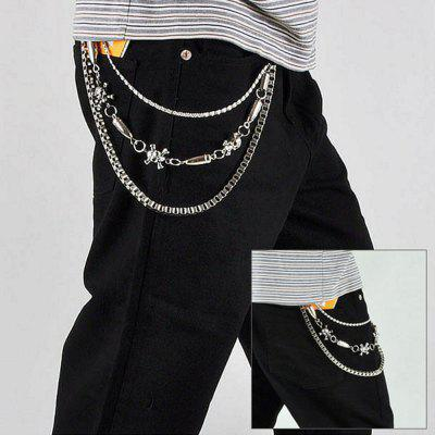 Personalized Skull Stitching Bullet Design Trousers Chain For Men