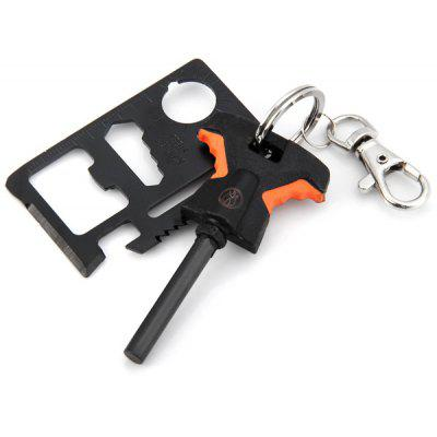 Magnesium Fire Starter / Outdoor Knife Saber Card 2 in 1 Camping Kit with Key Ring