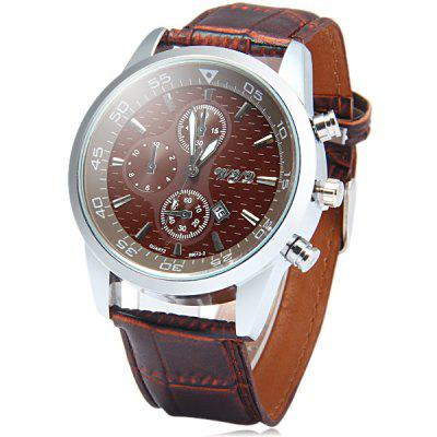 Wyq 89012 - 2 Date Function Male Quartz Watch Leather Strap Wristwatch