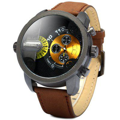 Shiweibao A3130 Nubuck Leather Band Male Dual Movt Quartz Watch with Decorative Sub - dials