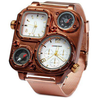 Shiweibao 1108 Bronzed Case Dual Time Male Quartz Watch