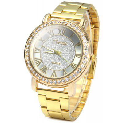 YTwatch Golden Color Shiny Diamond Lady Quartz Watch with Stainless Steel Body