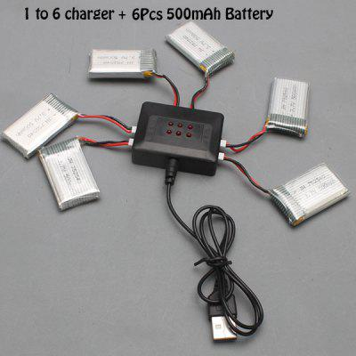 Battery Charging Set 6 x 500mAh LiPo + 1 to 6 Balance USB Charger for Syma X5C / X5SC / X5SW / GPTOYS F2C Quadcopter RC Model Accessories