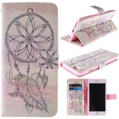 Stand Design Feather Wind Chime Pattern PU and TPU Phone Cover Case with Card Holder for iPhone 6  -  4.7 inch