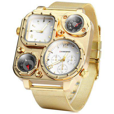 Shiweibao 1108 Dual Time Male Golden Quartz Watch with Compass Decorative Thermometer Steel Net Band
