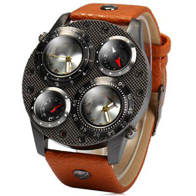 Shiweibao 1107 Leather Band Male Dual Movt Quartz Watch with Compass Function