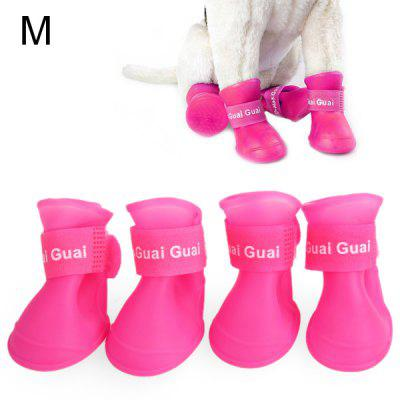 4pcs Stylish Rubber Dog Boots Pet Shoes Anti - skidding Footwear