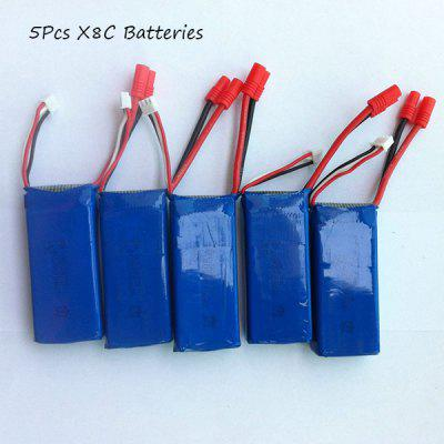 SYMA X8C RC Quadcopter Spare Part 5Pcs 7.4V 2000mAh Lipo Batteries