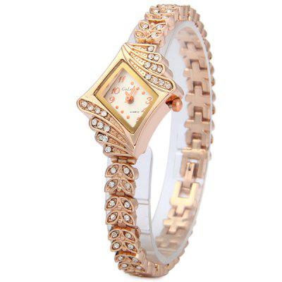 Golou G021 Diamond Quartz Chain Watch Women Bracelet with Leaf - shaped Steel Strap