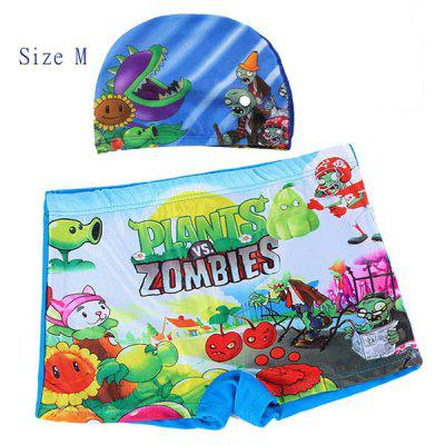 YUKE Swimming Trunks and Cap Set Boys Short Pants with Plants VS Zombies Pattern