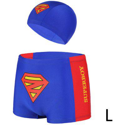 YUKE Chinlon Swimming Trunks Boys Short Pants with Supper Boy Pattern