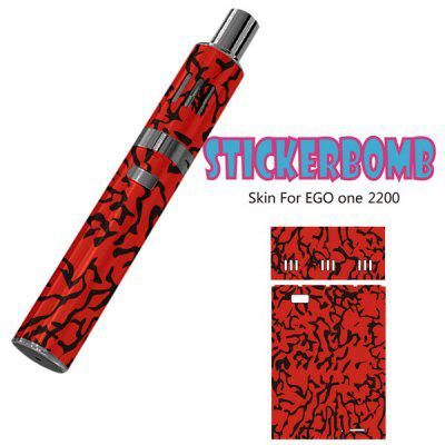 Minimalisam Red Background with Black Lines Removable Full Body Vinyl Sticker for Ego One 2200mAh