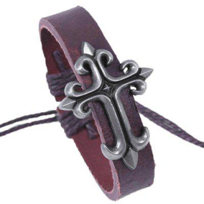 Smart Cross Totem Faux Leather Chain Bracelet For Men