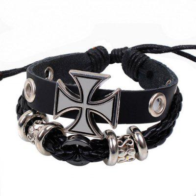 Modern Punk Cross Decorated Layered Chain Bracelet For Men