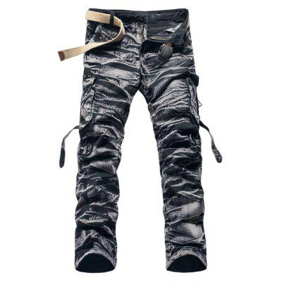 Military Style Stylish Camo Design Multi-Pocket Straight Leg Cotton Blend Cargo Pants For Men