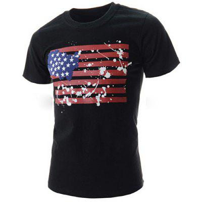 Fashion Round Neck Slimming Splash-Ink American Flag Print Short Sleeve Polyester T-Shirt For Men