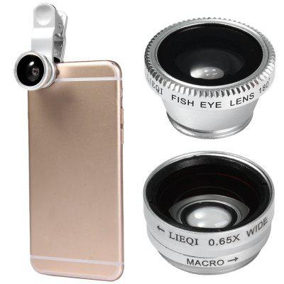 LIEQI LQ  -  011 3 - in - 1 Fish Eye Macro 0.65X Wide Angle External Camera Lens