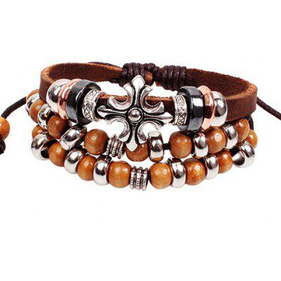 Ethnic Beads Cross Layered Chain Bracelet For Women