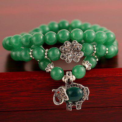 Chic Layered Beads Leaf Elephant Pendant Bracelet For Women