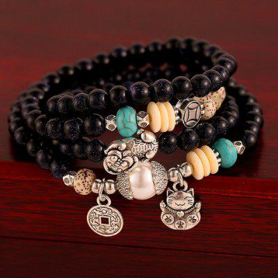 Layered Vintage Beads Coin Cat Pendant Bracelet