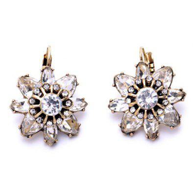 Pair of Classic Rhinestone Floral Design Earrings For Women