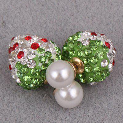 Pair of Cute Rhinestone Faux Pearl Strawberry Earrings For Women