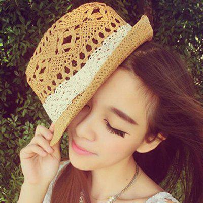 Cute Openwork White Lace Ribbon Decorated Straw Hat For Women