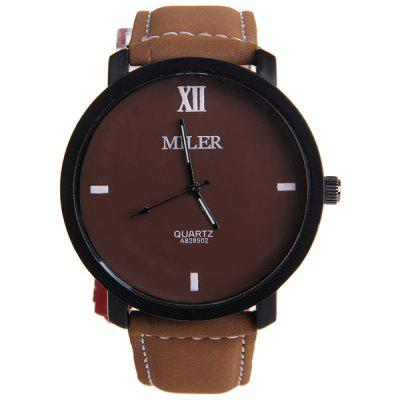 Miler A828502 Contracted Wristwatch Nubuck Leather Strap Male Quartz WatchMens Watches<br>Miler A828502 Contracted Wristwatch Nubuck Leather Strap Male Quartz Watch<br><br>Available Color: Black,Black and white,Brown,White<br>Band material: Leather<br>Brand: Miler<br>Case material: Stainless Steel<br>Clasp type: Pin buckle<br>Display type: Analog<br>Movement type: Quartz watch<br>Package Contents: 1 x Miler A828502 Watch<br>Package size (L x W x H): 25.70 x 5.50 x 2.00 cm / 10.12 x 2.17 x 0.79 inches<br>Package weight: 0.0990 kg<br>Product size (L x W x H): 24.70 x 4.50 x 1.00 cm / 9.72 x 1.77 x 0.39 inches<br>Product weight: 0.0490 kg<br>Shape of the dial: Round<br>The band width: 2.0 cm / 0.79 inches<br>The dial diameter: 4.5 cm / 1.77 inches<br>The dial thickness: 1.0 cm / 0.39 inches<br>Watch style: Fashion<br>Watches categories: Male table