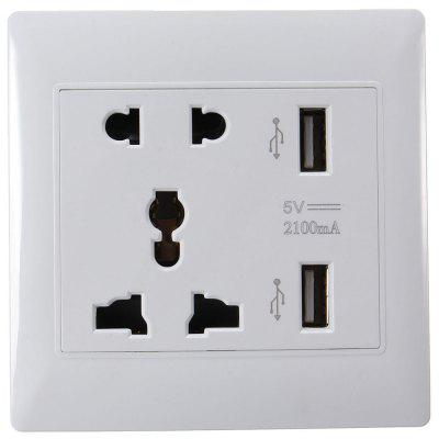 Dual USB Ports Universal Wall Socket Flame - resistant PC Shell Adapter