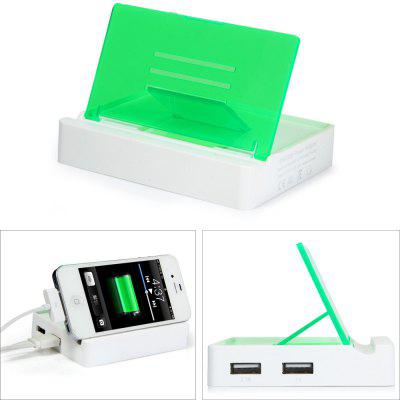 2 USB Ports 15W Charger Phone Holder Over - current Protection Power Adapter for iPhone iPad iPod Samsung HTC  -  100 - 240V US Plug