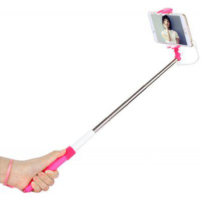 3.5mm Jack Cable Stretch Selfie Monopod Stick with a Back Mirror Design