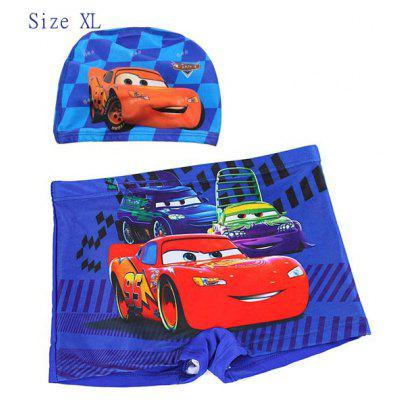 YUKE Swimming Trunks and Cap Set Boys Short Pants with Animation Film Cars Pattern