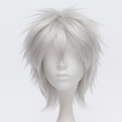 Fashion Fluffy Silvery White Charming Short Straight Sakata Gintoki Cosplay Wig
