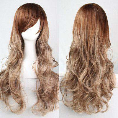 Fashion Fluffy Side Bang Flax to Light Blonde Ombre Charming Long Wavy Synthetic Wig For Women