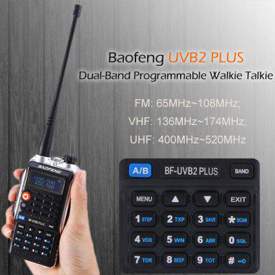 Baofeng UVB2 PLUS VHF / UHF Dual Band Programmable Walkie Talkie Two - way Radio FM Transceiver Handheld Dual Standby Interphone with Flashlight 2pcs mini walkie talkie uhf interphone transceiver for kids use two way portable radio handled intercom free shipping