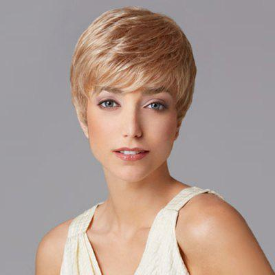 Buy LIGHT BROWN Charming Sexy Short Straight Full Bang Heat Resistant Capless Women's Synthetic Blonde Wig for $16.37 in GearBest store