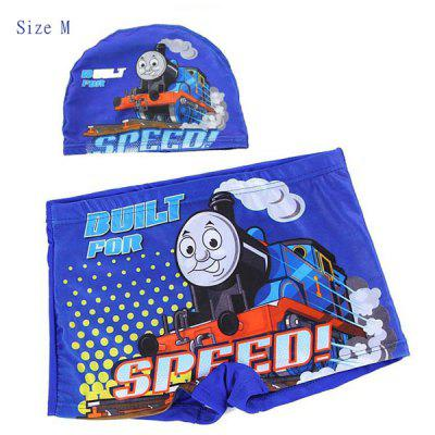 YUKE Swimming Trunks and Cap Set Boys Short Pants with Thomas Train Pattern