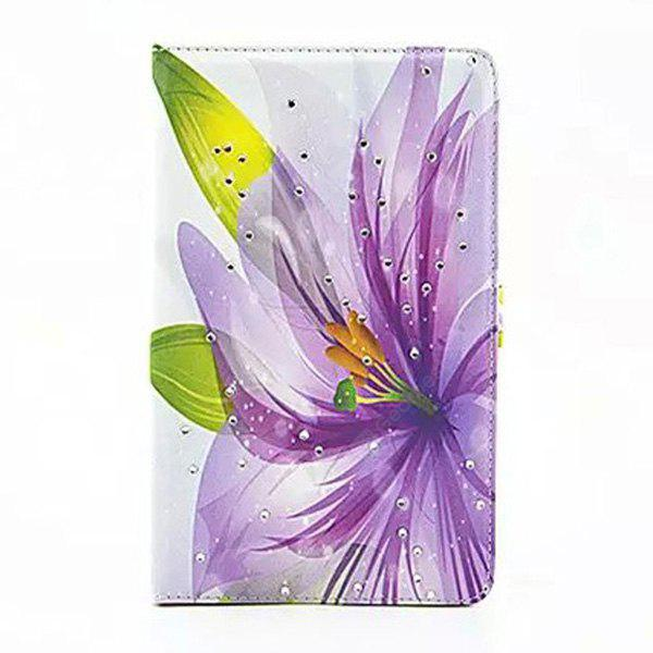 Pu Leather Case With Stand Purple Flowers Design For