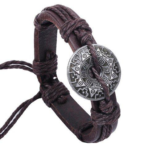 Ethnic Printed Round Decorated Faux Leather Chain Bracelet For Women