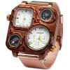 Shiweibao 1108 Bronzed Case Dual Time Male Quartz Watch with Compass Decorative Thermometer - BROWN