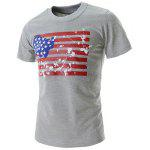 Fashion Round Neck Slimming Splash-Ink American Flag Print Short Sleeve Polyester T-Shirt For Men - GRAY