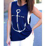 cheap Stylish Round Collar Sleeveless Anchor Print Women's Tank Top