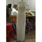 Sexy Halter Hollow Out Spliced Maxi Dress For Women - WHITE