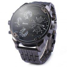 Oulm 3548 Men Dual-movt Japan Quartz Watch with Big Dial Stainless Steel Band