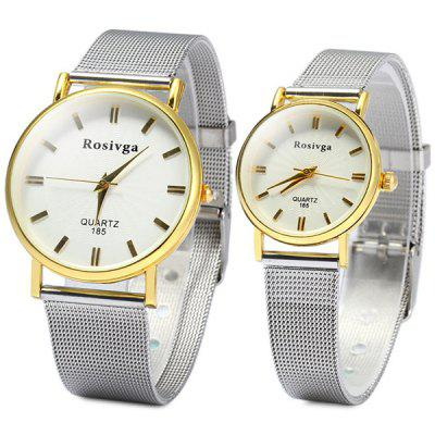 Rosivga 185 Analog Quartz Watch with Steel Band for Couple