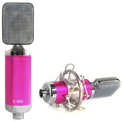 E-660 Condenser Sound Recording Microphone and Metal Shock Mount for Radio Broadcasting Studio Voice Recording