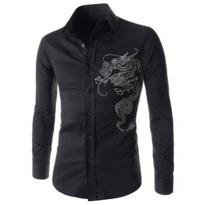 Stylish Beads Long Sleeves Cotton Blend Black Shirt For Men