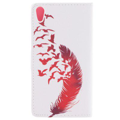 Artistic Red Feather Pattern PU and TPU Material Cover Case with Stand for Sony Z2